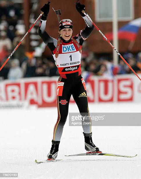 Magdalena Neuner of Germany takes 1st place in the Women's Pursuit event during the IBU Biathlon World Cup Finals on March 17 2007 in Khanty Mansiysk...