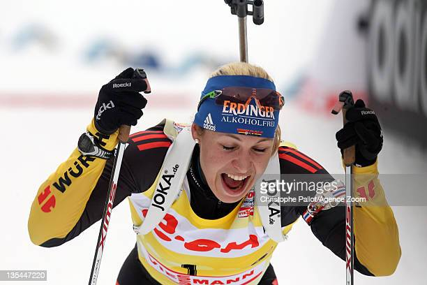 Magdalena Neuner of Germany takes 3rd place during the IBU Biathlon World Cup WomenÕs Pursuit on December 10, 2011 in Hochfilzen, Austria.