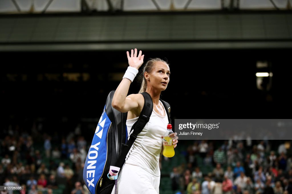 Magdalena Rybarikova of Slovakia acknowledges the crowd as she celebrates victory after the Ladies Singles quarter final match against Coco Vandeweghe of The United States on day eight of the Wimbledon Lawn Tennis Championships at the All England Lawn Tennis and Croquet Club on July 11, 2017 in London, England.