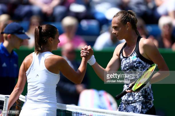 Magdalena Rybarikova of Slovakia and Dalila Jakupovic of Slovenia shake hands after their QuarterFinal match during Day Seven of the Nature Valley...