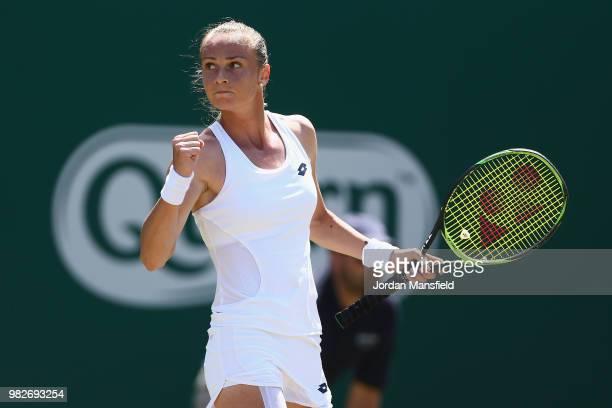 Magdalena Rybarikova of Slovakia celebrates a point during her singles Final match against Magdalena Rybarikova of Slovakia during day nine of the...
