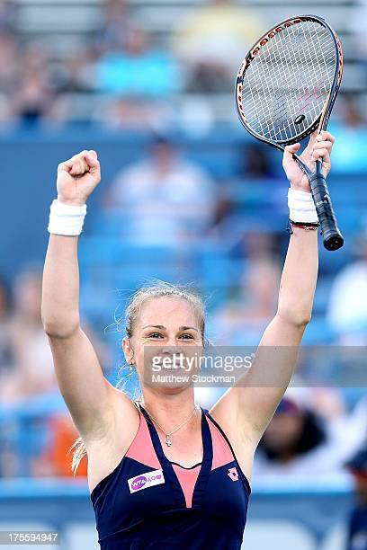 Magdalena Rybarikova of Slovakia celebrates match point against Andrea Petkovic of Germany during the final of the Citi Open at the William HG...