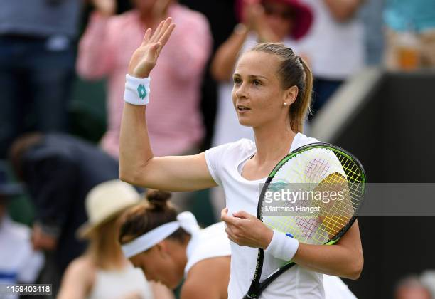 Magdalena Rybarikova of Slovakia celebrates match point in her Ladies' Singles first round match against Aryna Sabalenka of Belarus during Day one of...