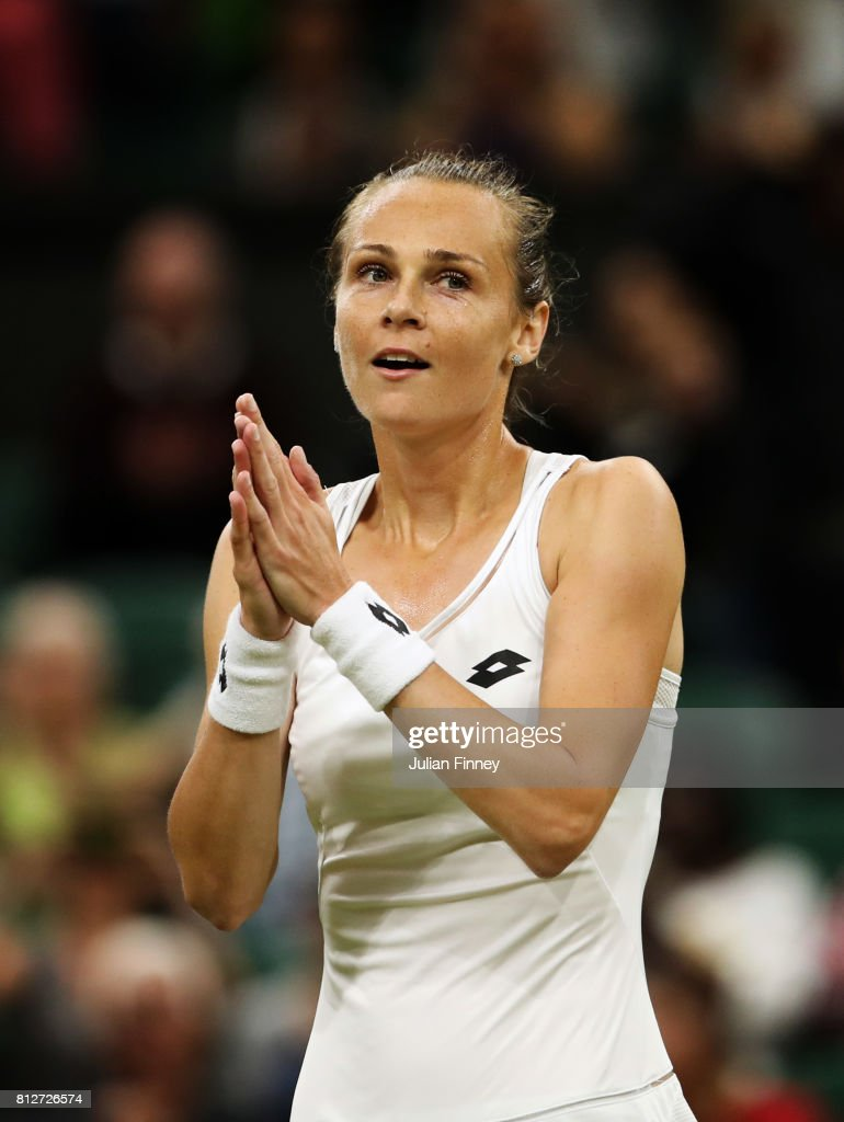 Magdalena Rybarikova of Slovakia celebrates victory after the Ladies Singles quarter final match against Coco Vandeweghe of The United States on day eight of the Wimbledon Lawn Tennis Championships at the All England Lawn Tennis and Croquet Club on July 11, 2017 in London, England.