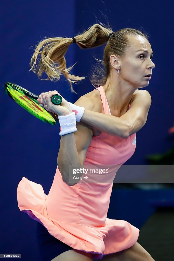 Magdalena Rybarikova of Slovakia hits a return in her match against Kristina Mladenovic of France during the WTA Elite Trophy Zhuhai 2017 at Hengqin Tennis Center on November 1, 2017 in Zhuhai, China