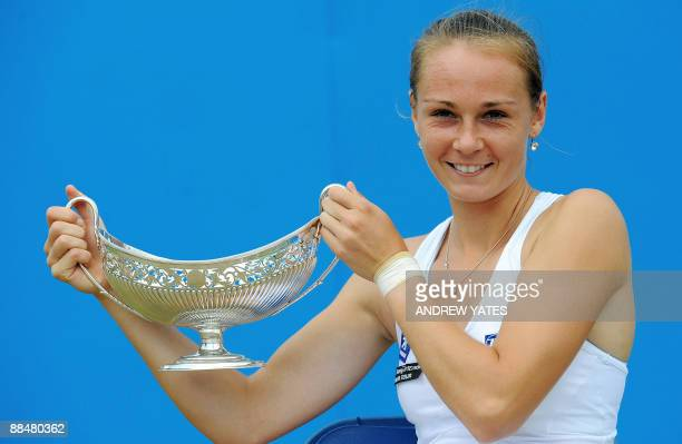 Magdalena Rybarikova of Slovakia holds the Maud Watson trophy after winning the WTA AEGON classic tennis tournament final at Edgbaston Priory in...