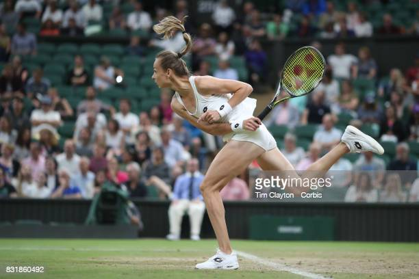 Magdalena Rybarikova of Slovakia in action against Coco Vandeweghe of the United States in the Ladies' Singles Quarter Final match on Center Court...