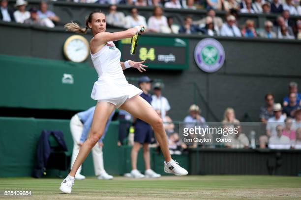Magdalena Rybarikova of Slovakia in action against Garbine Muguruza of Spain in the Ladies Singles Semi Final match during the Wimbledon Lawn Tennis...