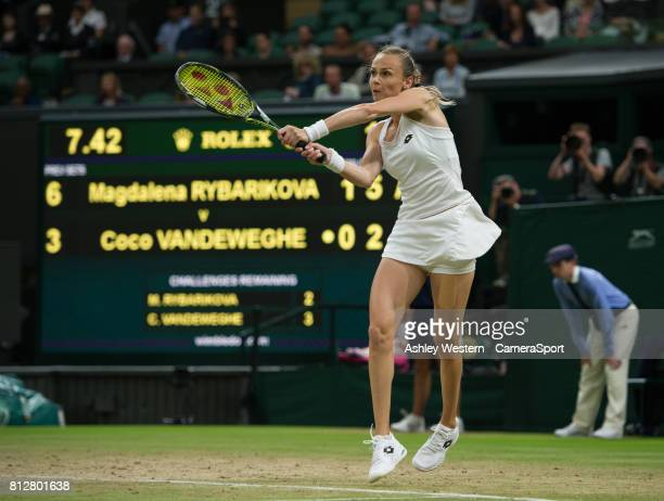 Magdalena Rybarikova of Slovakia in action during her victory against Coco Vandeweghe of United States in their Ladies' Singles Quarter Final Match...