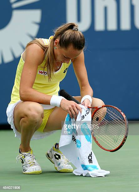 Magdalena Rybarikova of Slovakia pauses in the second set against Petra Kvitova of the Czech Republic during the women's final of the Connecticut...