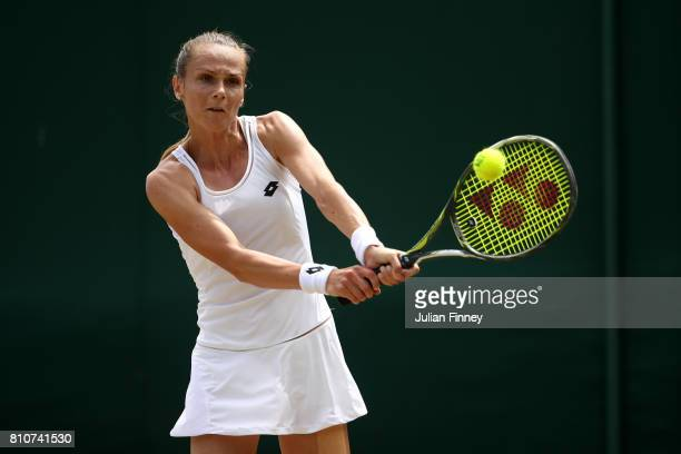 Magdalena Rybarikova of Slovakia plays a backhand during the Ladies Singles third round match against Lesia Tsuernko of Ukraine on day six of the...