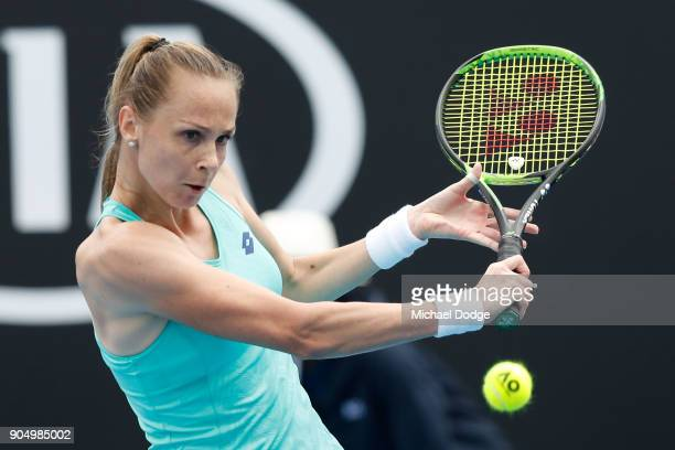 Magdalena Rybarikova of Slovakia plays a backhand in her first round match against Taylor Townsend of the United States on day one of the 2018...