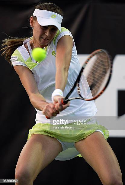 Magdalena Rybarikova of Slovakia plays a backhand in her first round match against Anabel Medina Garrigues of Spain during day one of the ASB Classic...