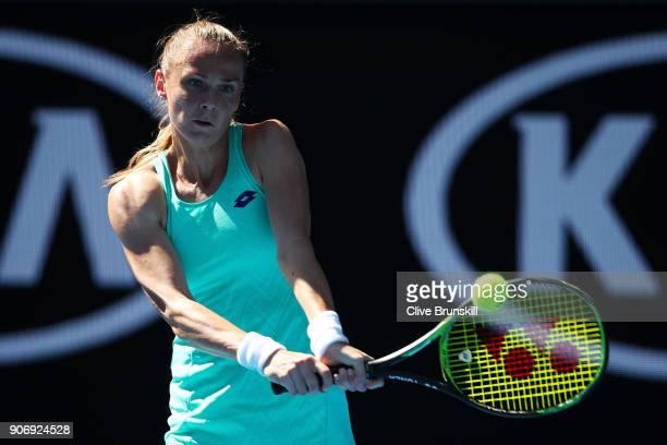 Magdalena Rybarikova of Slovakia plays a backhand in her third round match against Kateryna Bondarenko of Ukraine on day five of the 2018 Australian...