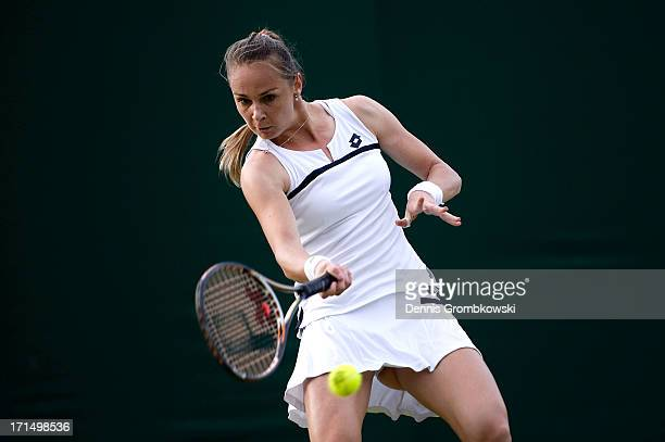 Magdalena Rybarikova of Slovakia plays a forehand during her Ladies' Singles first round match against Barbora Zahlavova Strycova of Czech Republic...