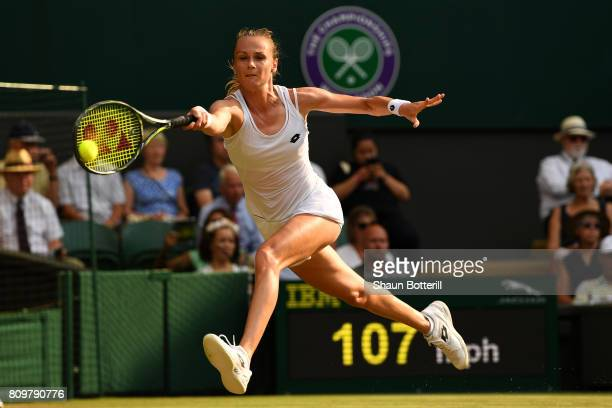 Magdalena Rybarikova of Slovakia plays a forehand during the Ladies Singles second round match against Kristyna Pliskova of the Czech Republic on day...