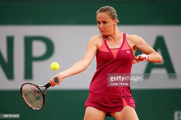 Magdalena Rybarikova of Slovakia plays a forehand during the Women's Doubles match between Varvara Lepchenko of the United States of America and...