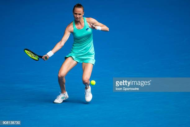 Magdalena Rybarikova of Slovakia plays a shot in her fourth round match during the 2018 Australian Open on January 21 at Melbourne Park Tennis Centre...