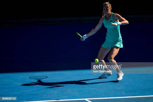 Magdalena Rybarikova of Slovakia plays a shot in her third round match during the 2018 Australian Open on January 19 at Melbourne Park Tennis Centre...