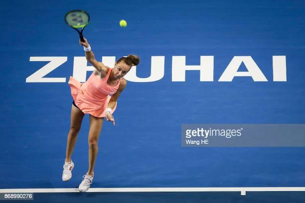 OUT£©Magdalena Rybarikova of Slovakia reacts against Kristina Mladenovic of France during the WTA Elite Trophy Zhuhai 2017 at Hengqin Tennis Center...