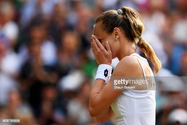 Magdalena Rybarikova of Slovakia reacts as she celebrates victory after the Ladies Singles second round match against Kristyna Pliskova of the Czech...