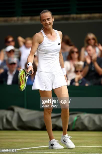 Magdalena Rybarikova of Slovakia reacts during the Ladies Singles third round match against Lesia Tsuernko of Ukraine on day six of the Wimbledon...