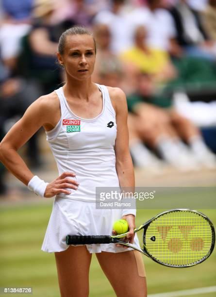 Magdalena Rybarikova of Slovakia reacts during the Ladies Singles semi final match against Garbine Muguruza of Spain on day ten of the Wimbledon Lawn...