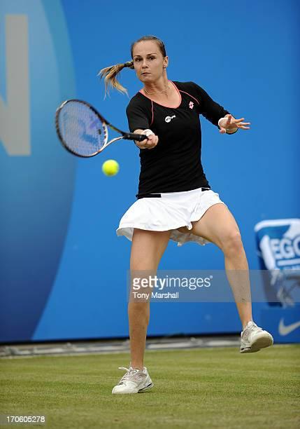 Magdalena Rybarikova of Slovakia returns a shot in her Semi Final match against Donna Vekic of Croatia during the AEGON Classic Tennis Tournament at...