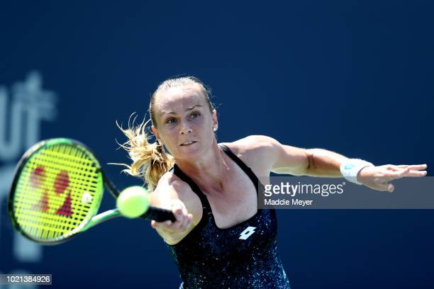 Magdalena Rybarikova of Slovakia returns a shot to Ekaterina Makarova of Russia during Day 3 of the Connecticut Open at Connecticut Tennis Center at...