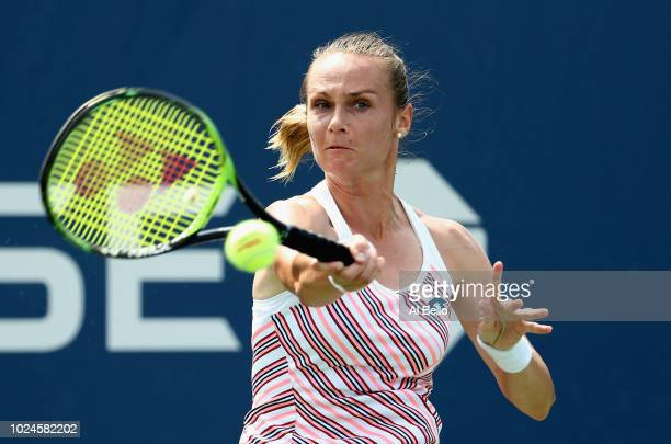 Magdalena Rybarikova of Slovakia returns the ball in her women's singles first round match against Qiang Wang of China on Day One of the 2018 US Open...