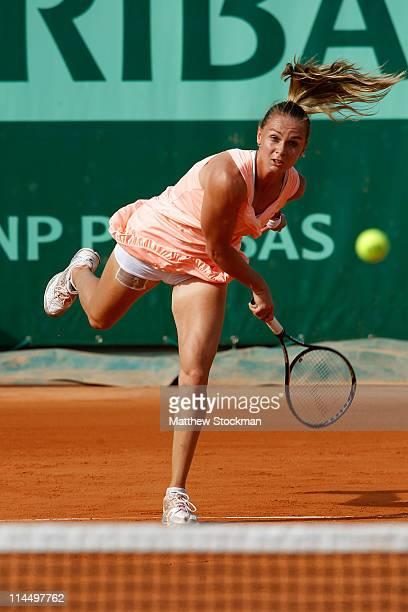 Magdalena Rybarikova of Slovakia serves during the women's singles round one match between Magdalena Rybarikova of Slovakia and Svetlana Kuznetsova...