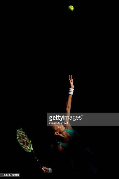 Magdalena Rybarikova of Slovakia serves in her third round match against Kateryna Bondarenko of Ukraine on day five of the 2018 Australian Open at...