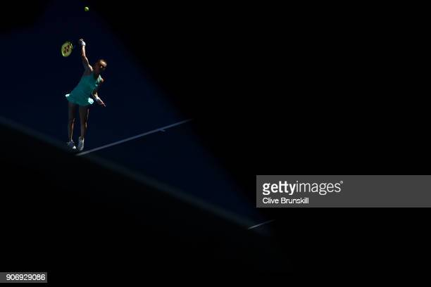 Magdalena Rybarikova of Slovakia serves in her third round match against Kateryna Bondarenko of Ukraine on day five of the 2018 Australian Open at...