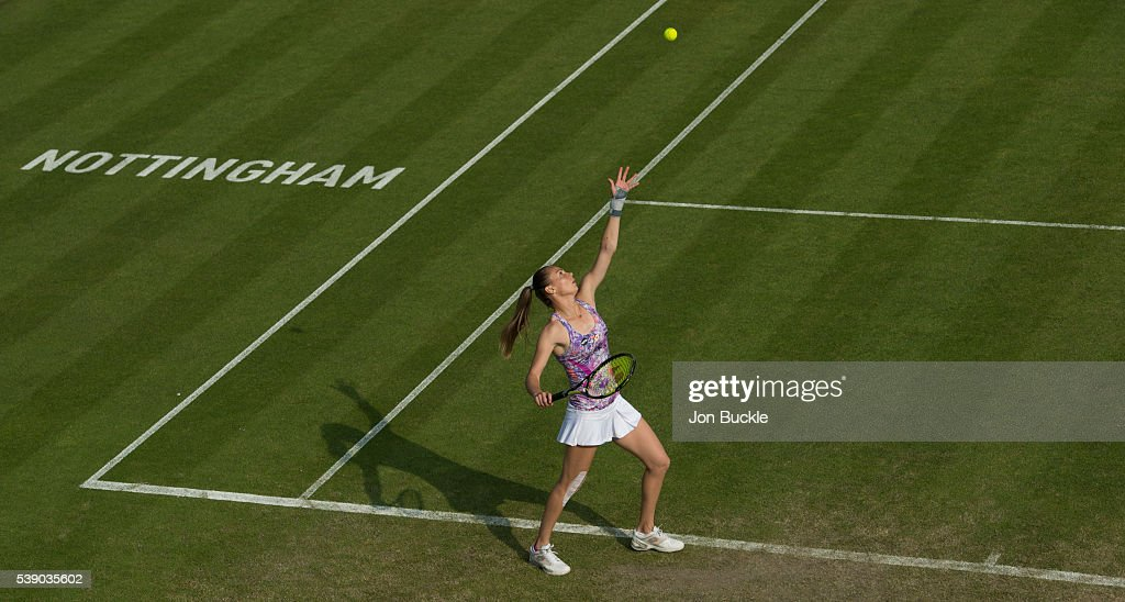 Magdalena Rybarikova of Slovakia serves the ball during her match against Tamira Paszek of Austria on day four of the WTA Aegon Open on June 9, 2016 in Nottingham, England.