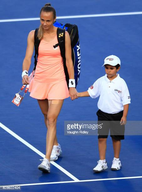 Magdalena Rybarikova of Slovakia walks onto the court prior to her match against Simona Halep of Romania during Day 5 of the Rogers Cup at Aviva...