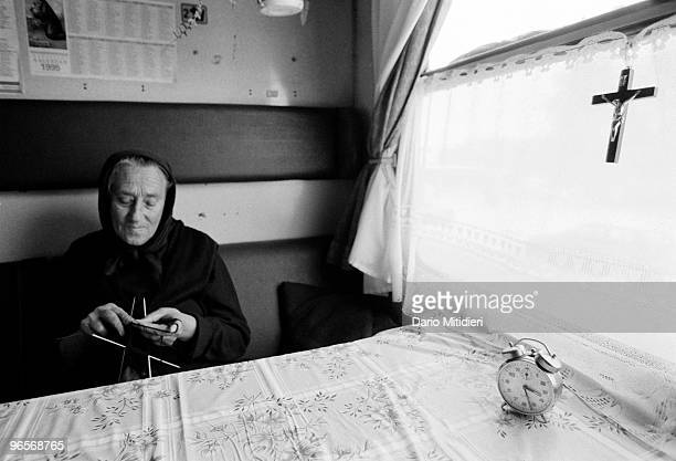 Magdalena Simic an internal refugee from Vukovar is sitting in her temporary home a train car in the city of Vinkovci former Yugoslavia on November 6...