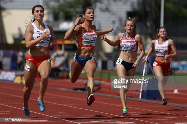 Magdalena Stefanowich of Poland Demi van den Wildenberg of the Netherlands and Linda Hettlerowa of the Czech Republic compete during 100m Women round...