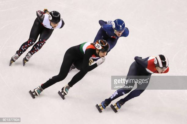 Magdalena Warakomska of Poland Andrea Keszler of Hungary Elise Christie of Great Britain and Lara Van Ruijven of the Netherlands compete during the...