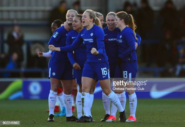 Magdalene Eriksson celebrates her teams win after a WSL match between Chelsea Ladies and Arsenal Women at The Cherry Red Records Stadium on January 7...