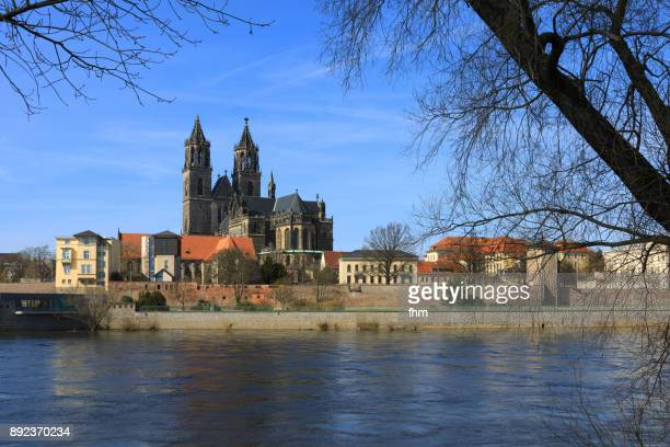 Magdeburg cathedral near Elbe River - landmark of the capital in Saxony-Anhalt/ Germany
