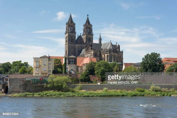 Magdeburg Cathedral with Elbe, oldest Gothic building in Germany, Magdeburg, Saxony-Anhalt, Germany