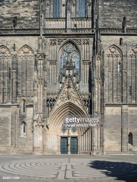 Magdeburg Cathedral with entrance portal, Detail west facade, Magdeburg, Saxony-Anhalt, Germany