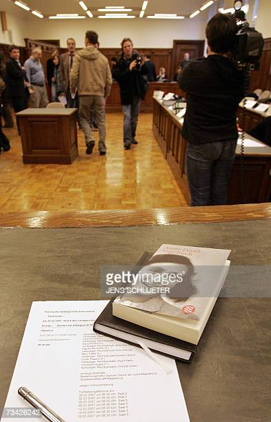 A copy of Anne Frank's diary is displayed on the judge's desk before the start of the trial gainst seven suspected rightwing extremists accused of...