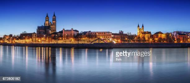 magdeburg panorama - city skyline of the capital in saxony-anhalt/ germany - saxony anhalt stock pictures, royalty-free photos & images