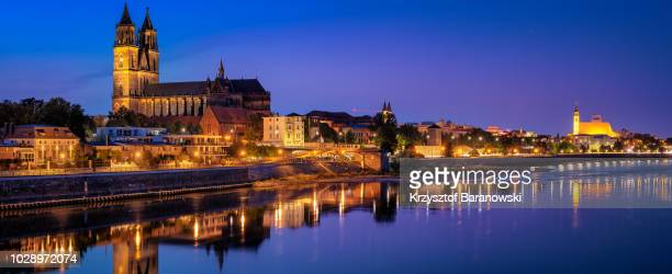 magdeburg skyline reflections - saxony anhalt stock pictures, royalty-free photos & images