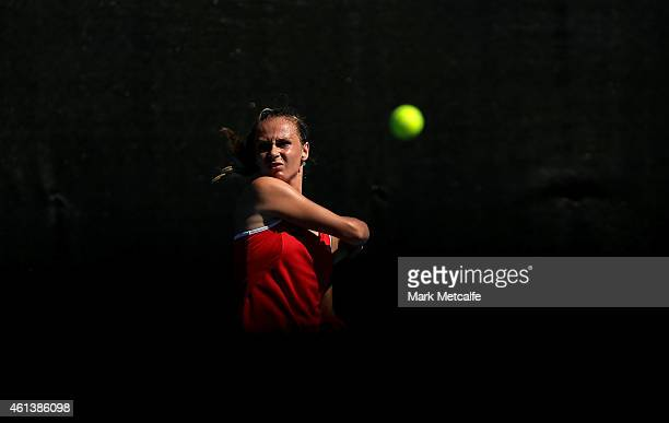 Magdelena Rybarikova of Slovakia plays a forehand in her first round match against Heather Watson of Great Britain during day two of the 2015 Hobart...