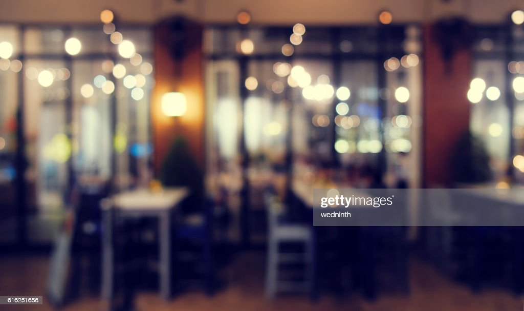 mage of blur restaurant in night time for background : Stock Photo