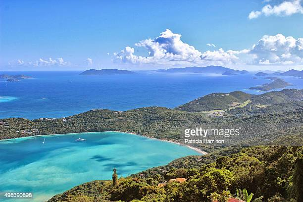 magen's bay beach, high angle view - magens bay stock photos and pictures