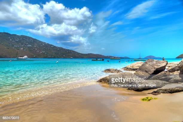 Magens Bay tropical beach with no people at Saint Thomas, US Virgin Islands