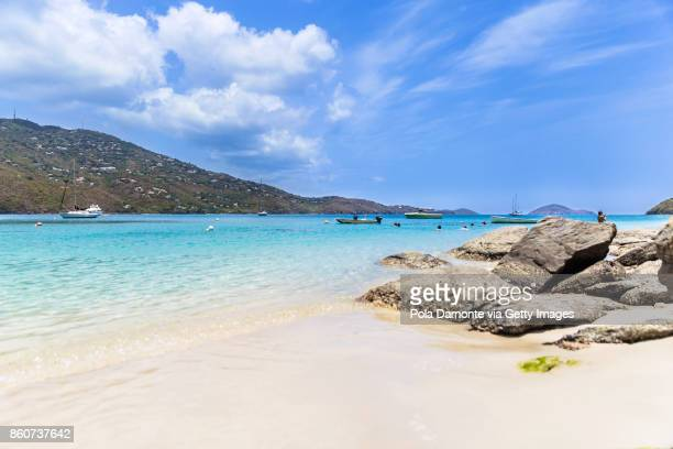magens bay tropical beach with no people at saint thomas, us virgin islands - magens bay stock photos and pictures